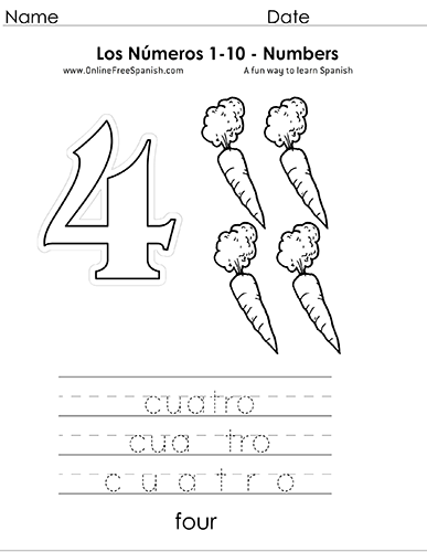 Onlinefreespanishcom Los Números Numbers 1 To 10 In Spanish